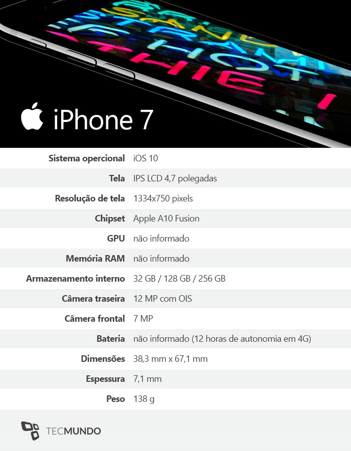 especificações técnicas iPhone 7
